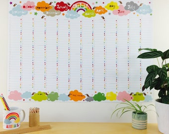 2017-2018 Large Academic Rainbow Wall Planner, 2017 academic wall calendar , A1 wall planner, A2 family wall planner with TUBE DELIVERY