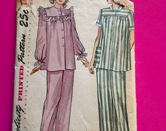 Vintage 1940's 1950's Simplicity Pattern 2598 Misses 2 Piece Pajama Size 12 Bust 30