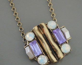Vintage Inspired Necklace - Art Deco Necklace - Purple Necklace- Opal Necklace - Crystal Necklace - Brass Necklace - Handmade Necklace