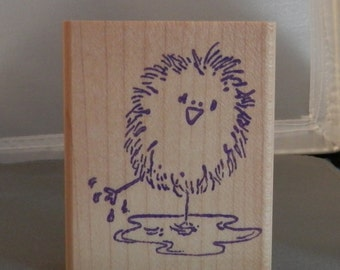 Chick in a puddle Rubber Stamp