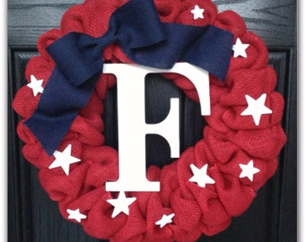 SPRING SPECIAL!! Patriotic Wreath- Fourth of July Wreath- Burlap Wreath- Memorial Day Wreath- Red, White & Blue