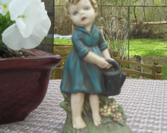 Vintage Ceramic Garden Girl with Watering Can Barefoot Teal Dress