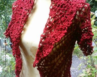 Crochet Bolero, red, Gr. 36-38 (S M), a short arm