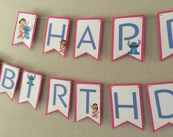 Lilo and Stitch Birthday Banner, Lilo and Stitch