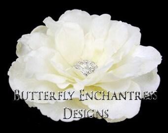 SALE  Ivory Audrina Bridal Hair Flower Clip with Clear Crystal Rhinestone