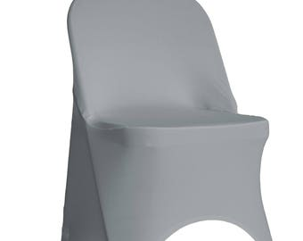 YCC Linen - Stretch Spandex Folding Chair Covers Silver