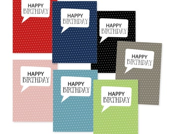 Postcard 'Happy birthday' in 7 colors with envelope