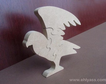 Eagle wooden puzzle medium, hand made fretwork, toy painting, crafting, 4 puzzle pieces