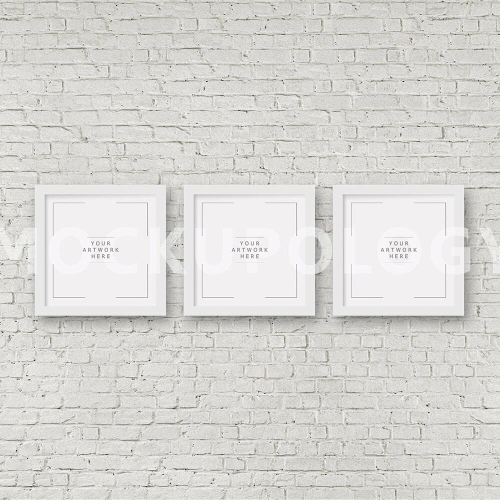 QUADRATISCHE Satz von drei digitalen weißen Rahmen Mockup