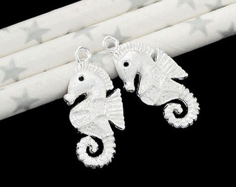 2 of 925 Sterling Silver Seahorse Charms 12x22mm. Matte Finished :tk0076