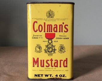 Colman's Mustard 4 ounce Tin Yellow