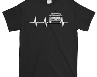 Audi Quattro Iconic Car Rally Car Best Print Hoodies And Shirts Unique Heartbeat Audi Love Tee