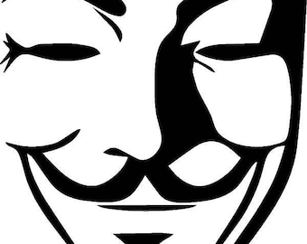 Guy Fawkes six inch tall by 4 inch wide vinyl decal sticker