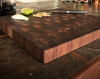 Walnut End Grain reclaimed cutting board / butcher block