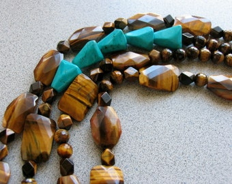 Big 'n Chunky - TIGERS Eye and TURQUOISE - multi-gemstone statement necklace Unique OOAK sterling silver brown blue