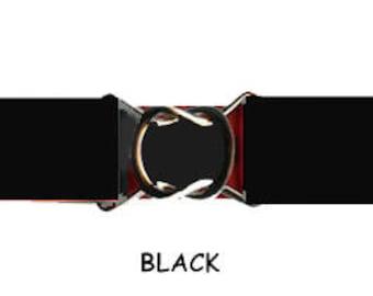 """STRETCH BELT - BLACK 1"""" Elastic * 3-Sizes for Kids & Adults *  Adjustable on Both Sides"""