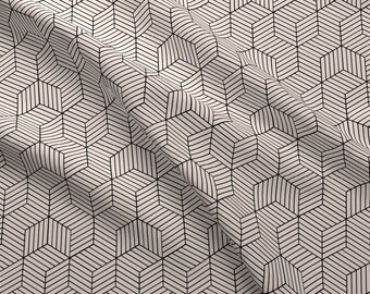 Cube Illusion Fabric - Geometric Illusion Fabric In Cream And Black By Bella Modiste - Geometric Cotton Fabric By The Yard With Spoonflower