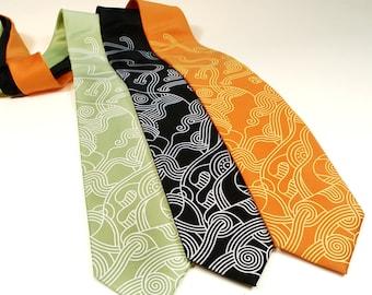 Abstract Curves Tie - Modern Art Necktie - Men's Neck Tie - Line Art