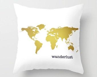 Gold map pillow etsy wanderlust gold map pillow or pillow cover lumbar pillow throw accent pillows gumiabroncs Choice Image
