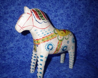 """Heirloom Grannas Olsson Antique-Inspired Dapple Blue and White Swedish Dala Horse--8"""" tall --Limited Production; Numbered, Signed, and Dated"""