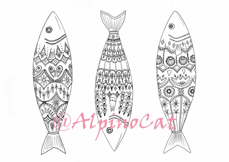 3 Fischbilder Malvorlagen zum Ausdrucken Malbuch für