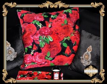 Red Rose Throw Pillow, Red Roses Throw Pillow, Red Rose Petals Decorative Pillow, Cherub Pillow
