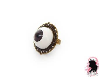 Antique Bronze & Brown Eyeball Ring, Brown Eye Ring, Brown Evil Eye Ring, Bronze Eyeball Ring, White Eyeball Ring, Doll Eye Ring