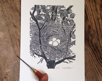 Bird's nest, linocut, black on cream-white, Limited Edition 10 copies, numbered and signed, linocut, black on cremewhite