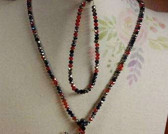 Black widow Necklace with Spider pendant & bracelet set