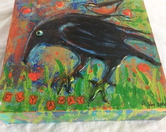 Crow Mini Mixed Media Painting