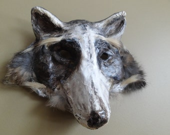 Masquerade masks paper mache racoon mask wolf mask