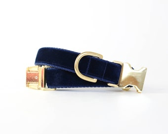 Luxe Velvet Dog Collar in Midnight Blue - Winter Dog Collar in Navy Velvet - Classic Velvet - Vintage Style