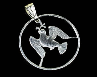 Peace Dove in flight Cut Coin Pendant with Necklace Hungarian Hungary Pendant Charm