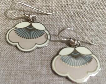 "Retired Vintage Laurel Burch Silver Tone "" Plum Blossom"" Dangle Earrings"