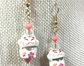 Crazy Cat Lady Earrings | Lucky Cat Earrings | Cat Lover Earrings | Dangly Earrings | Pink Earrings