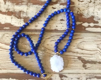White Druzy Necklace, White Druzy Pendant Necklace, Blue Bead Necklace, Druzy Necklace, White and Blue Necklace, Florida Necklace
