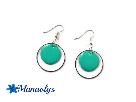 Hoop earrings, aquamarine silver ring round charms, enamel 3284
