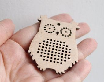 SET OF 5 - Cross stitch pendant blank OWL - owl blanks Wood Needlecraft Pendant, Necklace or Earrings - OWL2 - ODV32
