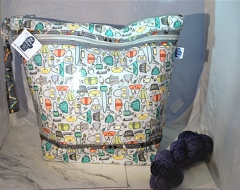 Purses and Shoes, Knitting Project Bag, Zippered Project Bag, Knitting Wedge Bag, Yarn Tote Bag, Yarn Bag, Knitting bag,