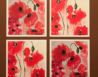 wet poppies, watercolor print, notecards