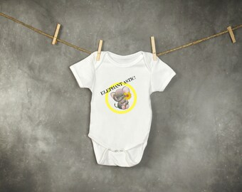 Elephant-astic Elephant and Flower Graphic Design Infant Bodysuit Baby Onesie Gray White Pink