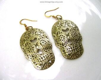 Sugar Skull Earrings Day of the Dead Día de Muertos Halloween Gold Tone Filigree 80s Fashion Jewelry Mexicana Mexico Texas Spanish Latino