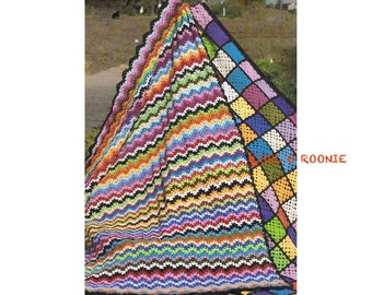 Rainbow Ripple Afghan Crochet Pattern - 1970's Vintage Digital Crochet Pattern Instant Download