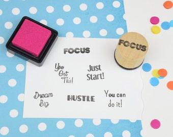 Handmade Focus Motivational Stamp - Journal - Planner Rubber Stamp - Organizer
