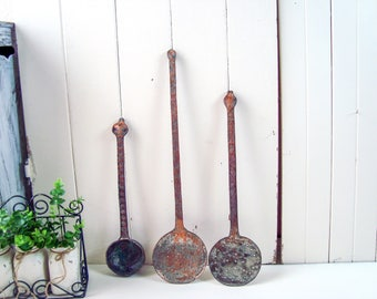 Farmhouse Rustic Metal Hanging Cooking Utensils, Heavy Iron Patina Ladle, Farmhouse Kitchen Decor, Rustic Serving Utensils, Cottage Chic