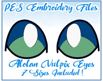 PES Alolan Vulpix Eyes embroidery files Instant Download (JEF included)