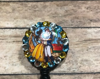 Beauty and the beast stained glass - badge reel - retractable badge holder - badge clip - name tag holder