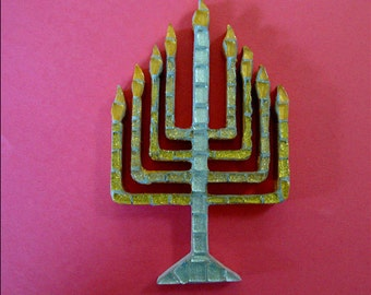 Hanukkah Menorah Mosaic in Gold and Silver Original Ooak