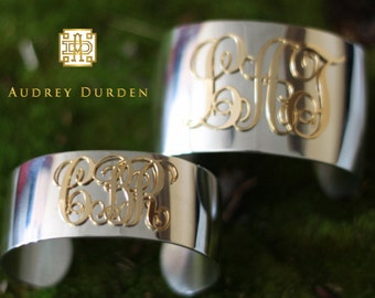 Monogrammed Gold & Pewter Cuff, Custom Made Bracelet Cuff with Initials, Statement Jewelry, Unique Christmas Gift for Her, Birthday Gift