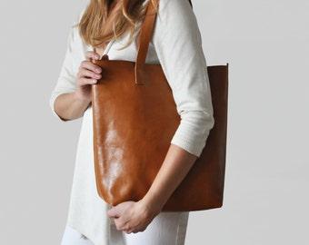 Honey brown Crossbody Shopper - perfect for everyday, work, school, market!
